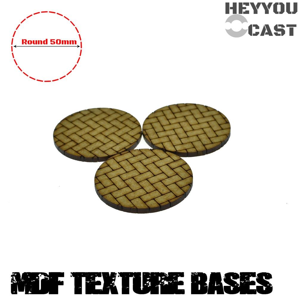 3 x MDF Bases - 50mm Round Basket Weave Bricks Texture bases- Basing Laser Cut Wargames wood