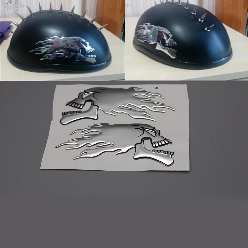 Chrome Skull Cool Motorcycle Stickers Moto Decals helmet Sticker on Car styling on Fuel tank Window Decoration стоимость