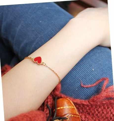 Charme Rouge Coeur Bracelets & Bangles Pour Femmes Filles Or Couleur Métal Bracelets Offre Spéciale Déclaration Bijoux En Gros