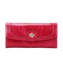Элегантный кошелек Camellia из натуральной кожи женский длинный стиль восковой/масляной воловьей кожи Роскошный кошелек W007