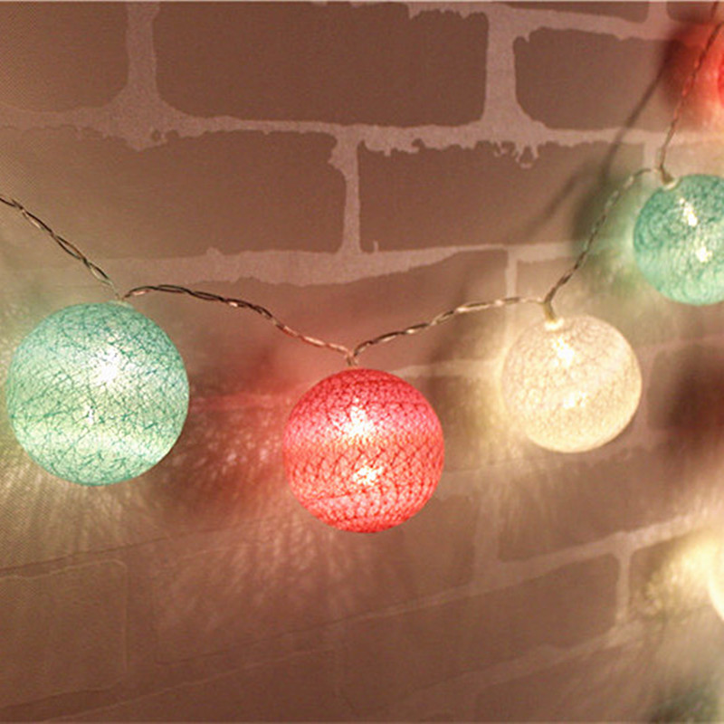 pink green white colors 5cm cotton ball light decorative garland led string lights cotton. Black Bedroom Furniture Sets. Home Design Ideas