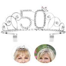 BABEYOND Crystal Tiara Birthday Crown Princess Crown Hair Accessories Diamante Happy 16/18/20/30/40/50/60/70/80/90/100th(China)