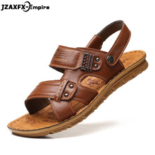 Genuine Leather Men's Sandals Open Toe Slip On Fashion Casual Shoes Men Men Slippers Roman Summer Beach Sandals men fashionable slip on sandals with open toe