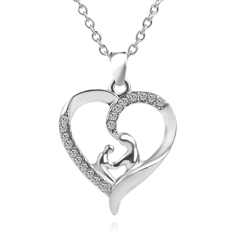 Free Shipping Crystal Mother Son Baby Daughter Heart Pendant
