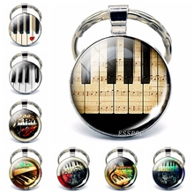 Music Festival Jewelry Vintage Piano Photo Glass Cabochon Keychain Accessories Handmade Gift for Pianist Lovers
