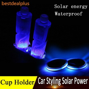 Newest Universal Solar LED Car Cup Holder Mat Anti Slip Waterproof Pad Bottle Drinks Coaster Atmosphere Lamp for Car SUV Truck image