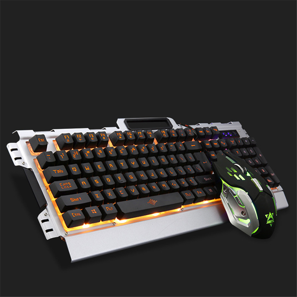 Ergonomics Gaming Keyboard Mouse Combo Cool Backlit USB Wired Keyboard 3200DPI Optical Mouse Suit for ASUS Acer HP Lenovo