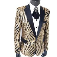 New Plus size men's clothing Sequins Slim suits nightclub DJ Blazers jackets Host Singer Stage Costume concert formal dress