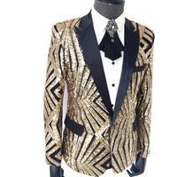 New Plus size men's clothing Sequins Slim suits nightclub DJ Blazers jackets Host Singer Stage Costume concert formal dress