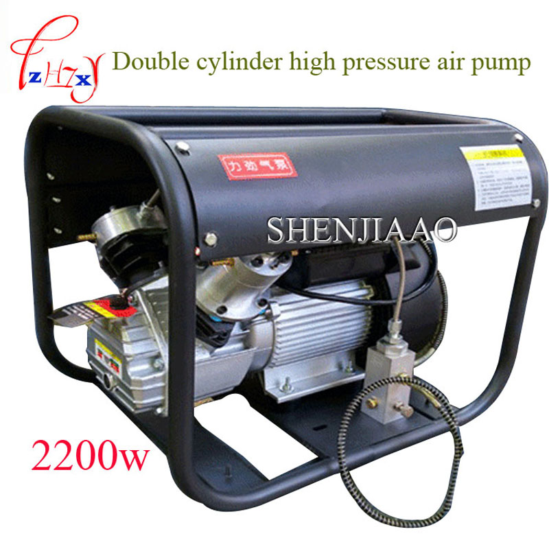 high pressure air pump 220 V 2.2KW Double Cylinder Electric air pump high pressure paintball air compressor for airgun rifle 13mm male thread pressure relief valve for air compressor