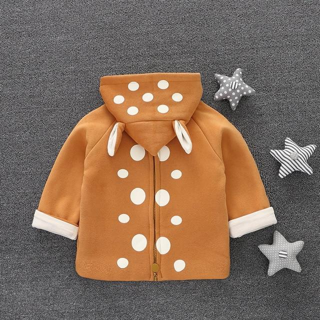 Baby boy Long Sleeve T-shirt  Hooded Sweatshirts for girl Pullover Christmas costume for girl Back Zipper Polka Dots Rabbit ears