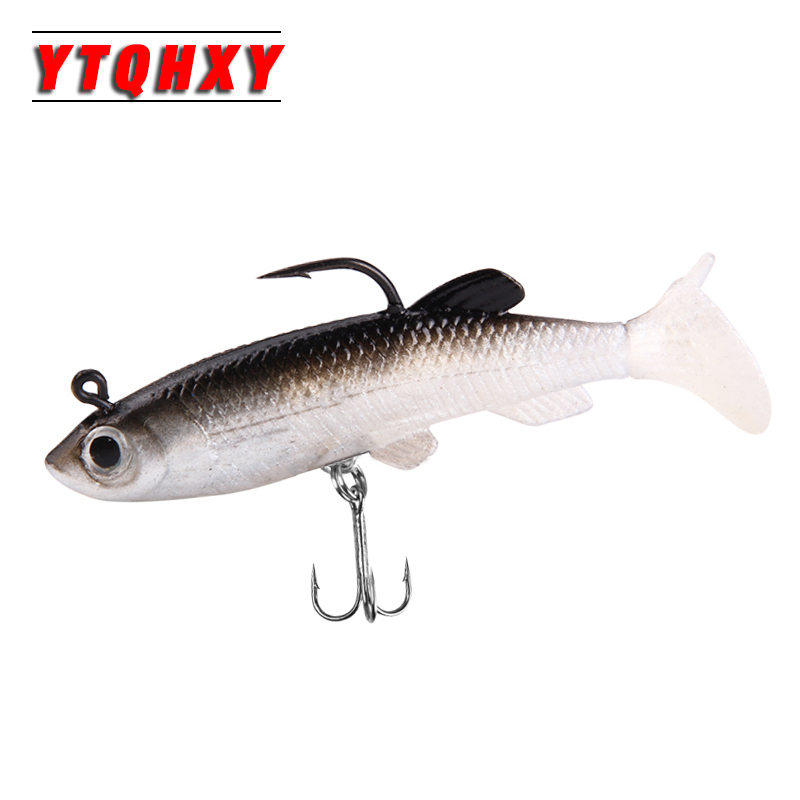Hot 5pc/lot Soft Fishing Lures 3D Eyes Deep Water Artificial 85mm 13g Bait Tool Lifelike Fish with Hooks Carp Fishing WQ96