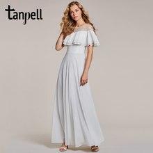789d642c74a73b Tanpell ruches avondjurk witte hals korte mouwen floor lengte een lijn gown  goedkope vrouwen lange prom avondjurk jurk