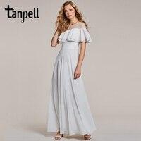 Tanpell ruffles suknia biały wycięciem krótkie rękawy piętro długość linii suknia tanie kobiety długi balu wieczór formalna sukienka