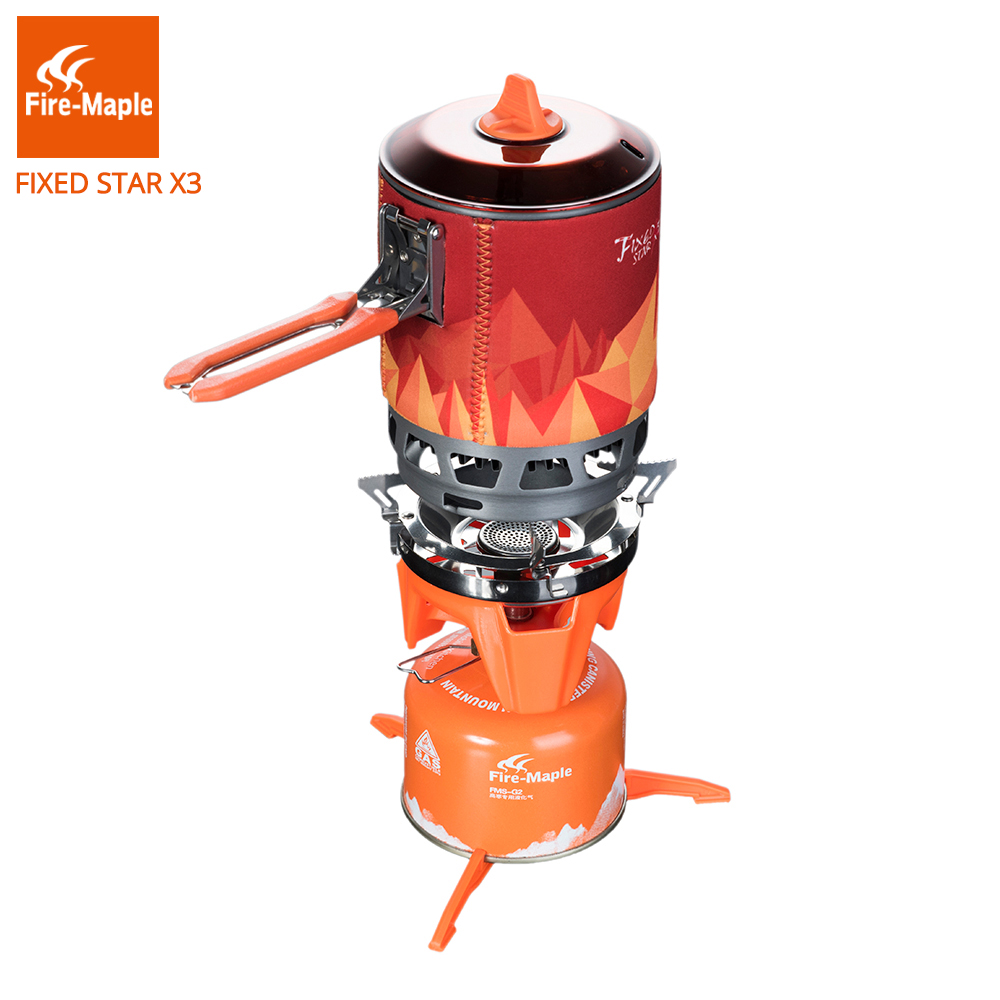 Fire Maple Gas Stove 1 Person Outdoor Backpacking Camping Cooking System With Piezo Ignition Gas Burners