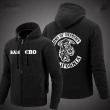 2016 new SOA Sons of anarchy sweatshirt samcro cashmere zip cardigan jacket zipper loose cotton men's Hoodies Sweatshirts