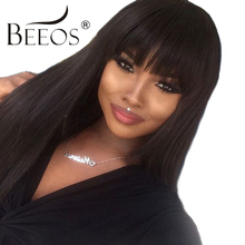 BEEOS 150 Density Straight Lace Front Human Hair Wigs With Bangs Brazilian Remy Hair For Black Women Pre Plucked Bleacehd Knots(China)
