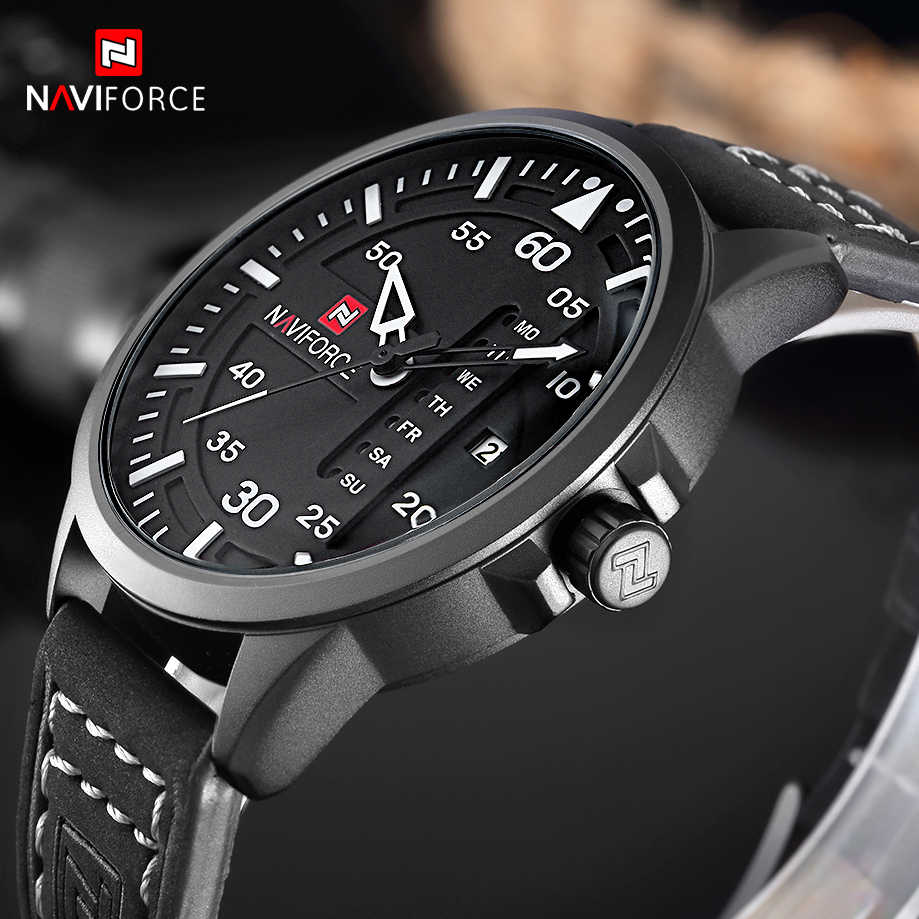 NAVIFORCE Fashion Casual Mens Watches Top Brand Luxury Leather Business Quartz Watch Men Wristwatch Male Clock Relogio Masculino