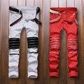 Лучшая версия 2016 молнии мужские джинсы тощий slim fit мужские Проблемных джастин бибер хлопок Джинсовые jeansRed и белый уличные брюки