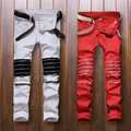 Best version 2016  zippers men jeans  skinny slim fit mens Distressed justin bieber cotton Denim jeansRed and white street pant