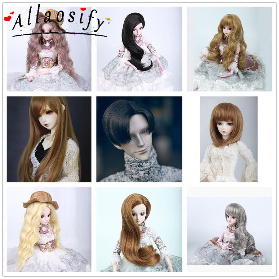 Allaosify Doll Accessories 1/3 1/4 Bjd Wig Doll Hair Wig Little Demon Long Straight Wig Bangs Cute Girl And Boy Baby Hair