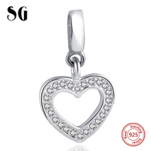 925 Sterling Silver Heart Love Charm Bead Fit Original pandora Bracelet Necklace Authentic Luxury DIY Jewelry Gift For Lover authentic 925 sterling silver bead charm snake chain fit original pans bracelet with glue heart clasp for women diy jewelry