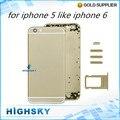 Металл бэтти дверь + боковые клавиши задняя крышка для iphone 5, как iphone 6 дело жилищного 1 шт. бесплатная доставка