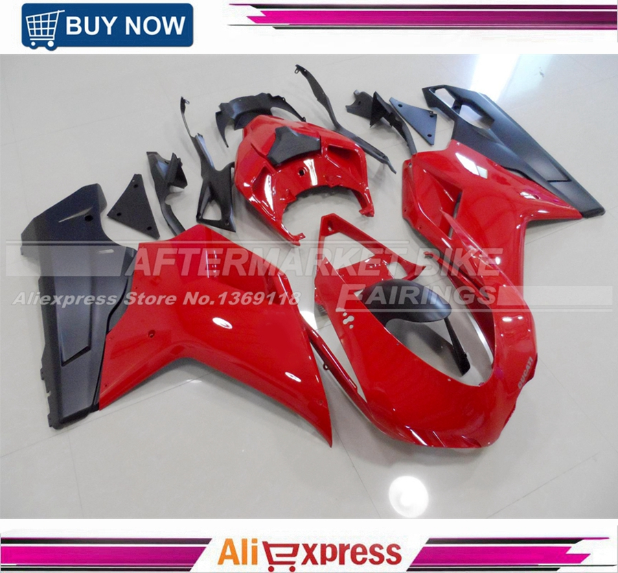 Gloss Red Injection Motorcycle Bodywork For Ducati 848 1098 1198 ABS Fairing Cover 100% Fitment hot sales yzf600 r6 08 14 set for yamaha r6 fairing kit 2008 2014 red and white bodywork fairings injection molding