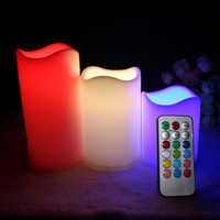 Moving Wick Dancing Flame LED Candle Light Wax Pillar Candle With Remote Control RC Timmer For