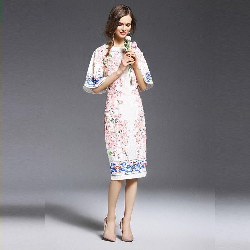 9f5c2892ab66 2017 Top Fashion Sale Runway Tavas Dresses Elegant Plus Size Women Dress 3d  Appliques O Neck Butterfly Sleeve Cotton Js-rc-0010