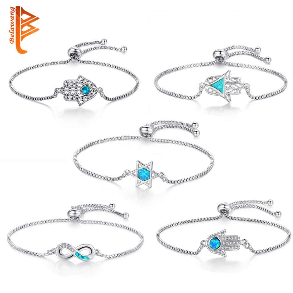 Silver Geometric Adjustable Chain Link Bracelet With Blue Opal Zircon Crystal Eye Hamsa Hand Infinity Charm Bracelets For Women