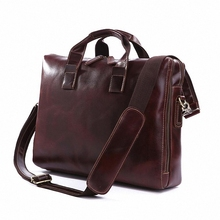 Large Capacity Vintage Real crazy horse Genuine Leather Men Briefcase Messenger Bags Travel Bags Laptop business Bag LI-827