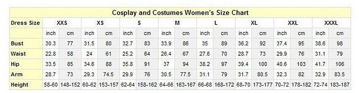 DB23683 cosplay women sizing chart