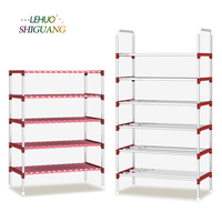 Multi Layer Shoe Rack With Handrail Galvanized Steel Pipe Shoe Cabinet Shoe Organizer Removable Shoe Storage