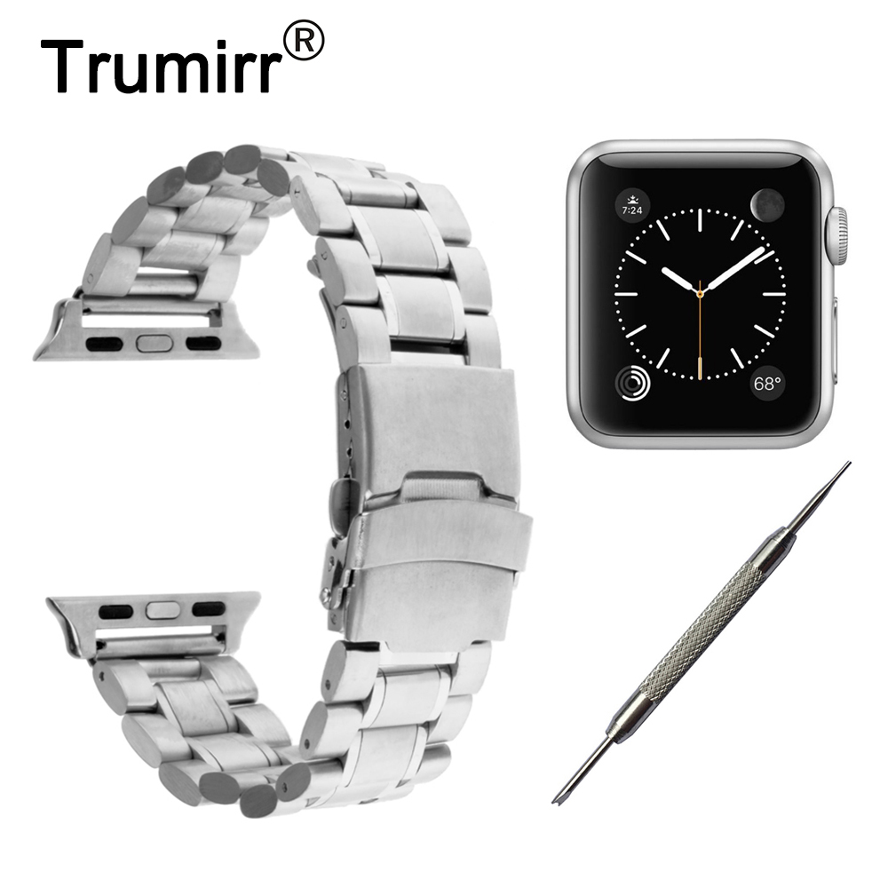 20mm 22mm Stainless Steel Band Safety Buckle Strap for iWatch Apple Watch 38mm 42mm Wrist Belt Bracelet with Connector Adapter wristband silicone bands for apple watch 42mm sport strap replacement for iwatch band 38mm classic stainless steel buckle clock