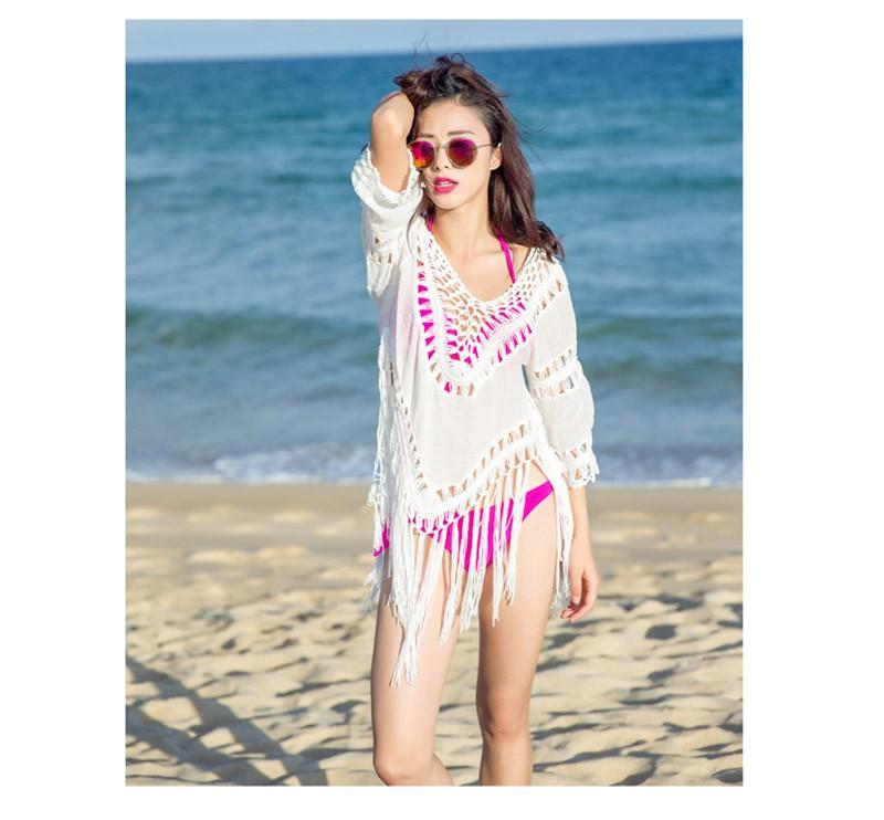 Women Sexy Cover-Ups Cotton Hollow Swimsuit Crochet Swimwear Tassel Bearding Tunic Pareo Swimsuits Beach Wear Bikinis Cover Up 5
