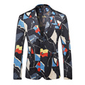 Мужчины Blazer Дизайн 2017 Известный Бренд Мужская Цветочный Блейзер Весна Осень Свадебное Платье Этап Куртка Повседневная Ternos Masculino Q211