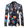 Projetos homens Blazer 2017 Marca Famosa Mens Floral Blazer Primavera Outono Casamento Palco Vestido de Jaqueta Casual Ternos Masculino Q211