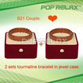 Free Shipping 2sets Tourmaline health energy power bracelet POP RELAX PR-B21 Couple new fashion
