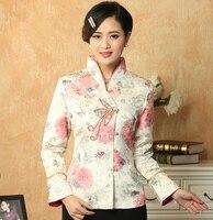 Spring Autumn Elegant White Flower Coat Chinese Female Cotton Jacket Handmade Button Outwear S M L
