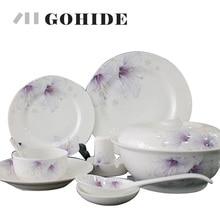 Gohide Luxury arts tableware ceramic avowedly 56pcs/set quality china dinner set square full dinnerare set in