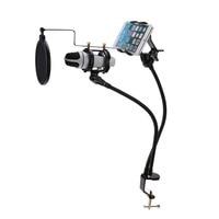1 Stks Microfoon Suspension Boom Arm Stand Mount Set Ondersteuning Opname de MV voor Mobiele Telefoon Met Clip Mic Stand Mount Set