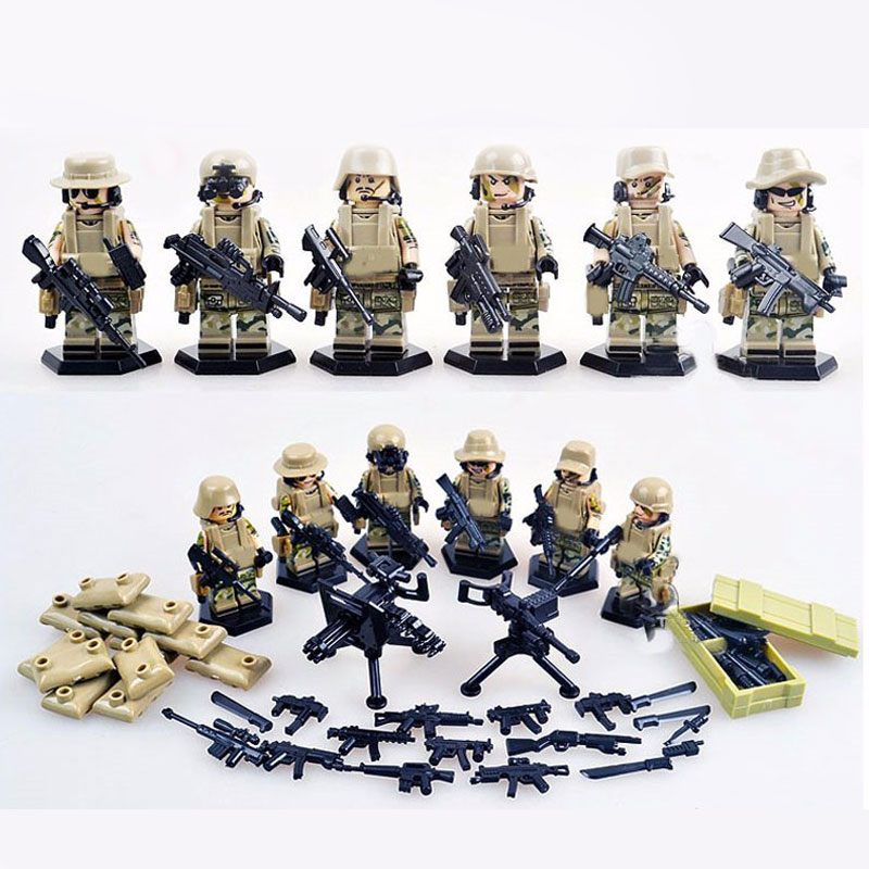 Oenux Military Heavy Fire Model Special Force Camouflage Soldier Military Figures Building Blocks Bricks DIY Toy For Boy Gift oenux wrestlemania wrestling weightlifting gym model the wrestler athlete figure building blocks bricks toy for boy s gift