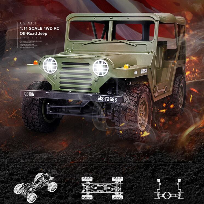 Elecdtric Outside Military Remote Control Truck 2.4G 1:14 4X4 Driving Off-Road Jeep M151 Command RC Truck Boy RC Toy With Light image