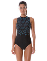 SYROKAN Women S Printed High Neck Maillot Athletic Training One Piece Swimsuit