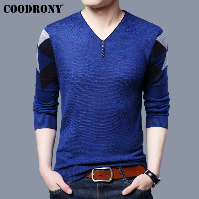 COODRONY Casual Button V-Neck Pull Homme Knitted Cotton Thin Sweater Men Clothes 2018 New Autumn Winter Pullover Men Shirts B012