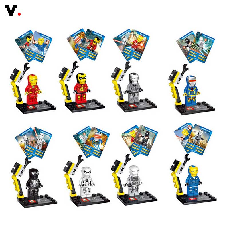8pcs New Hot Super Heroes Avenger Kid Baby Toy Mini Figure Building Blocks Sets Model Toys
