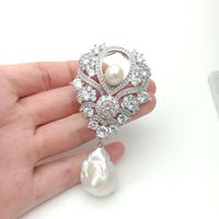 White golden plated Cz micro White keshi pearl brooch