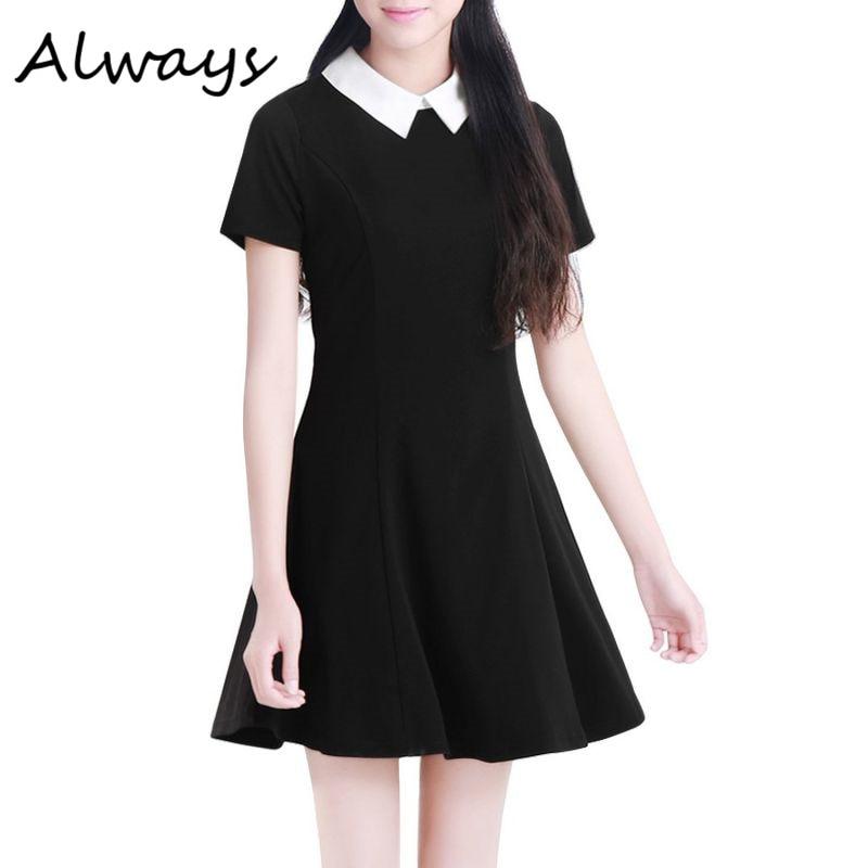 2019 Summer Elegant Women Vestidos Peter Pan Collar Dresses Party Lady Short Sleeve Office Dress School Sundress