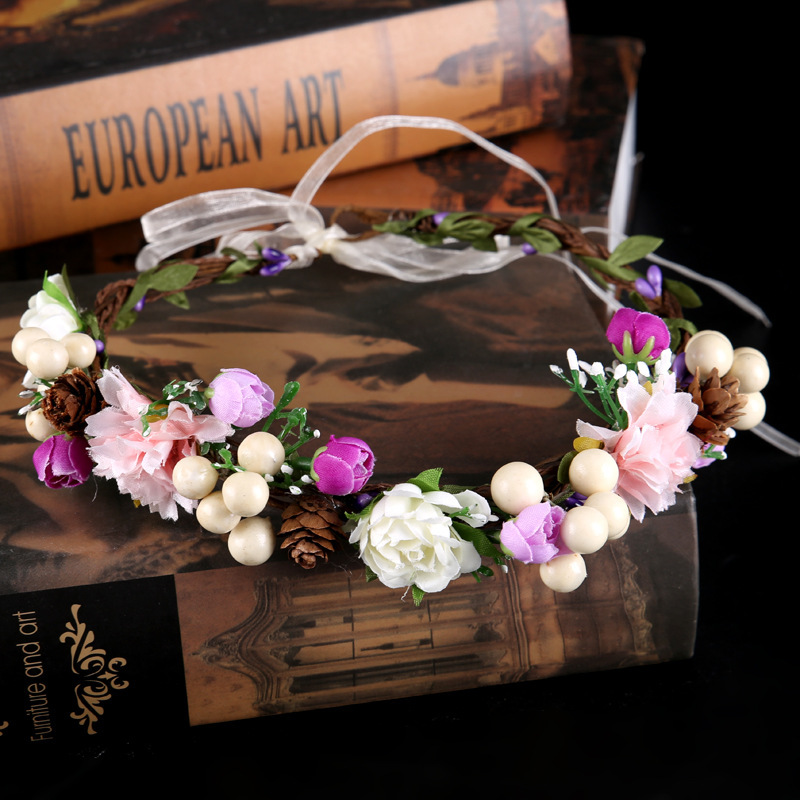 Bohemian Bridal Headdress Garland Simulation Flower Headband Forest Queen Wreath Wedding Fascinatot Accessories For Flower Girls